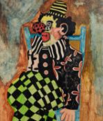 PETER LOMAX (MODERN) MIXED MEDIA ON PAPER Study of a seated clown Monogrammed, attributed verso