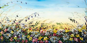 MAYA EVENTOV (b.1965) ACRYLIC ON CANVAS ?Summer Sky III? Unsigned, attributed and titled to label