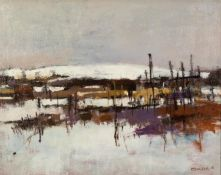 GEOFF CHILTON (MODERN) OIL ON CANVAS ?Langtoft Allotments? Signed, titled to label verso 15 ½? x