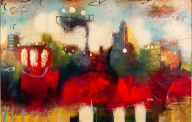 JOHN AND ELLI MILAN (MODERN) MIXED MEDIA ON BOARD ?City Colours II? Signed 24? x 36? (61cm x 91.4cm)