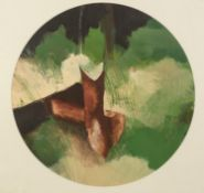 COLIN JELLICOE (1942 - 2018) THREE ACRYLIC PAINTINGS ON PAPER IN CIRCULAR MOUNTS ?C.J. PLAYING COVER