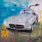 MARKUS HAUB (b.1972) MIXED MEDIA ON CANVAS ?Mercedes Benz 300 SL? Signed 24? x 24? (61cm x 61cm) C/