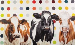 HAYLEY GOODHEAD (MODERN) ARTIST SIGNED LIMITED EDITION COLOUR PRINT ?Damien?s Herd?, (29/195) no