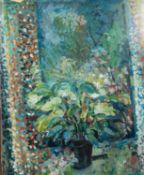 BRIAN MASON (MODERN) GOUACHE DRAWING Still Life- plant in front of a window Signed and dated (19)