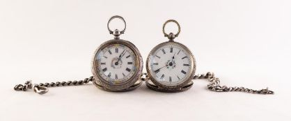 LADY'S VICTORIAN FOLIATE ENGRAVED OPEN FACED POCKET WATCH with key wind movement, decorated white