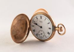 WALTHAM 'RIVERSIDE' 9ct GOLD HUNTING CASED POCKET WATCH with 19 jewelled keyless movement No