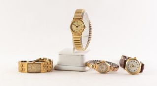 A 9ct GOLD CASED ARISTO LADY'S WRIST WATCH, on gilt metal expanding bracelet, and THREE OTHER