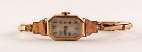 LADY'S VINTAGE 18ct GOLD WRISTWATCH with mechanical movement, small and narrow oblong arabic dial
