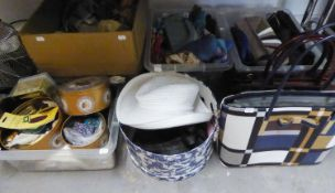 FIVE MODERN TEDDY BEARS, HANDBAGS, HATS, SCARVES, SEWING ITEMS, BUTTONS ETC....