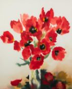 """† CAROLINE BAILEY (b.1953) WATERCOLOUR DRAWING Vase of Poppies Signed 29 ½"""" x 23 ¼"""" (74.4cm x 59cm)"""