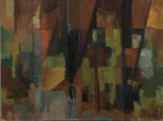IAN GRANT (1904 - 1993) OIL PAINTING ON BOARD Autumn IV, abstract Signed and dated 1961 lower