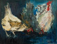 K.D. BAILEY (TWENTIETH/ TWENTY FIRST CENTURY) OIL ON BOARDThree chickens pecking at seed Signed