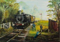 TOM BROWN (1933-2017) OIL ON BOARD Steam locomotive and crew Signed 19? x 26 ½? (48.2cm x 67.3cm)