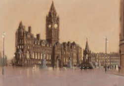 MARC GRIMSHAW (b.1957) PASTEL DRAWING Albert Square, Manchester Signed 11? x 15 ¼? (28cm x 38.7cm)