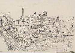 ROGER HAMPSON (1925 - 1996) INK DRAWING Sunnyside Pub and Swan Mills, Bolton Signed and titled and