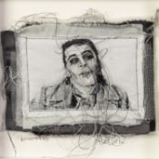TRACEY COVERLEY (b.1970) FABRIC AND THREAD PORTRAIT?Ian Dury? Signed and titled Framed and glazed 10