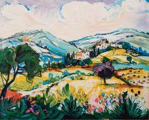 JACQUES BOLORÉ (1921) ARTIST SIGNED ORIGINAL COLOURED LITHOGRAPH French landscape with village and