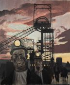 † ROGER HAMPSON (1925 - 1996) OIL PAINTING ON CANVAS Deep Navigation, coal miners coming off shift