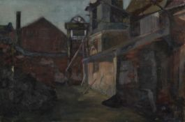 ATTRIBUTED TO TOM BROWN (1933-2017) OIL ON CANVAS Coal mine buildings Unsigned 16? x 24? (40.6cm x