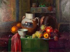 JOSÉ PEREZ COLLAR (1948)OIL PAINTING ON CANVASStill Life with fruit and pots on a tableSigned