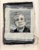 TRACEY COVERLEY (b.1970) FABRIC AND THREAD PORTRAIT ?Francis Bacon? Signed and titled Framed and