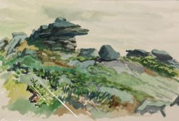 IAN GRANT (1904 - 1993) WATERCOLOUR DRAWING Rocky Outcrop Signed lower right 14 x 21in (36 x 53.