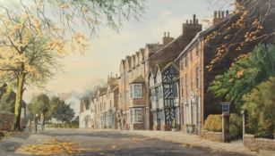 R.F FAWKES (TWENTIETH CENTURY) WATERCOLOUR DRAWING Prestbury Village Signed and dated 1990 17 ¼? x
