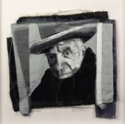 TRACEY COVERLEY (b.1970)FABRIC AND THREAD PORTRAIT ?Picasso? Signed and titled Framed and glazed 22?