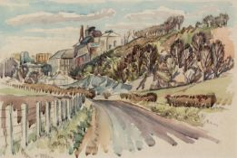 IAN GRANT (1904 - 1993) WATERCOLOUR DRAWING The Cement Works 9 3/4 x 14 1/4in (25 x 36cm) (
