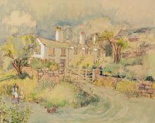 DANIEL GLEESON (TWENTIETH CENTURY) WATERCOLOUR DRAWING, heightened in white ?Rottington? Manor Farm?