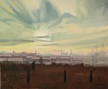†ROGER HAMPSON (1925 - 1996) OIL PAINTING ON CANVAS Bolton Sunrise Signed lower right, titled and
