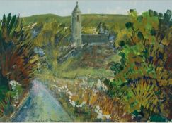MARGATED GUMUCHIAN (1928 - 1999)GOUACHE DRAWING Leafy lane and church Signed 9 1/2 x 13 1/2in (24