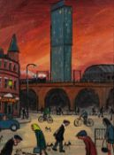 JAMES DOWNIE (b.1949) ACRYLIC ON CANVAS Whitworth Street Crossroads, Manchester Signed and dated