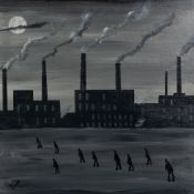 VINCENT DOTT (TWENTIETH/ TWENTY FIRST CENTURY) MONOCHROME OIL PAINTING ON BOARD?Rushing to Work?