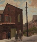 †ROGER HAMPSON (1925 - 1996) OIL PAINTING ON BOARD Peterhead Close, Bolton Signed lower right,