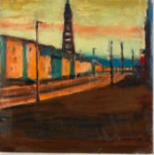 PAUL BASSINGTHWAIGHTE (b.1963) OIL ON BOARD?Last Light, Blackpool? Signed and titled to label