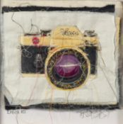 TRACEY COVERLEY (b.1970) FABRIC AND THREAD FROM THE CAMERA SERIES?Leica R3? Signed and titled Framed