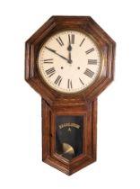 TWENTIETH CENTURY ANSONIA ?REGULATOR A? OAK CASED DROP DIAL WALL CLOCK, the 12? Roman dial powered