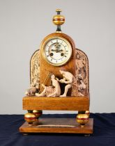 ?DAPHNIS AND CHLOE COMPOSITE OAK AND POTTERY FIGURAL MANTLE CLOCK, THE DIAL SIGNED ROSKELL, PARIS,