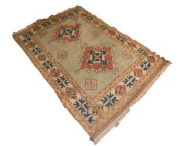 CAUCASIAN LOOSELY WOVEN LARGE RUG with two large diamond shaped medallions with arrow motifs and