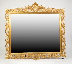MODERN HARRISON & GIL LARGE BEVELLED WALL MIRROR, in carved gilt wood foliated scroll and pierced