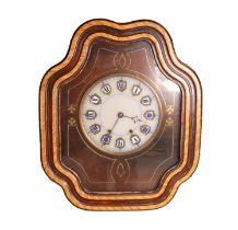 NINETEENTH CENTURY FRENCH ROSEWOOD GRAINED AND BRASS INLAID COMTOISE TABLEAU OR BULLS EYE CLOCK, the