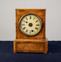CAMERER, KUSS, TRITSCHLER & Co, NINETEENTH CENTURY BURR WALNUT AND BRASS LINE INLAID MANTLE CLOCK,