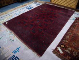 TURKOMAN BOKHARA CARPET, dark crimson with three rows of black stencilled large octagonal guls,