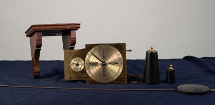 MODERN BRASS WEIGHT DRIVEN WALL CLOCK, the 5? dial set beneath a subsidiary seconds dial to the