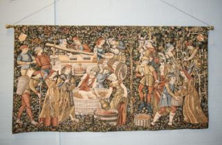 MACHINE WOVEN AND EMBOSSED PICTORIAL TAPESTRY WALL HANGING, padded and lined, depicting nineteen