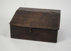LATE 17th/EARLY 18th CENTURY OAK SLOPE FRONT WRITING BOX with iron butterfly hinged lift-up slope,