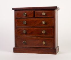 LATE 19th/EARLY 20th CENTURY INLAID MAHOGANY MINIATURE CHEST OF TWO SHORT AND THREE GRADUATED LONG