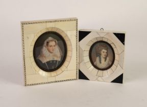 EARLY 20th CENTURY OVAL MINIATURE OF MARY STUART, in piano key ivory frame, 3 1/2in (14cm) x 4 5/8in
