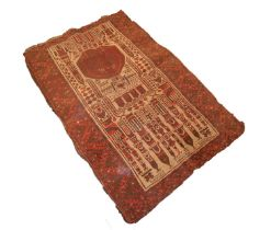 ANTIQUE KOUDANI BELUCH PRAYER RUG, with unusual pictorial many towered mosque design, in brown and